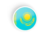 Round sticker with flag of kazakhstan