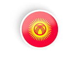 Round sticker with flag of kyrgyzstan