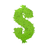 Dollar sign consisting of green leaves