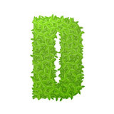 Uppecase letter D consisting of green leaves