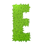 Uppecase letter E consisting of green leaves