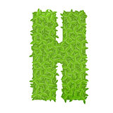 Uppecase letter H consisting of green leaves