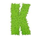 Uppecase letter K consisting of green leaves