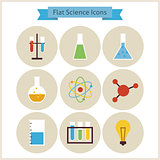 Flat School Chemistry and Science Icons Set.