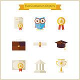 Flat School Graduation and Success Objects Set