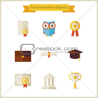 Flat School Graduation and Success Objects Set