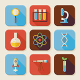 Flat Science and Education Squared App Icons Set