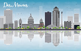 Des Moines Skyline with Grey Buildings and reflections