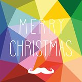 Holidays vector card with hipster mustache and hand drawn Merry Christmas