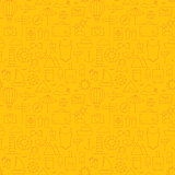 Thin Summer Line Travel and Resort Yellow Seamless Pattern