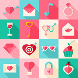 Valentine day flat icons with long shadow