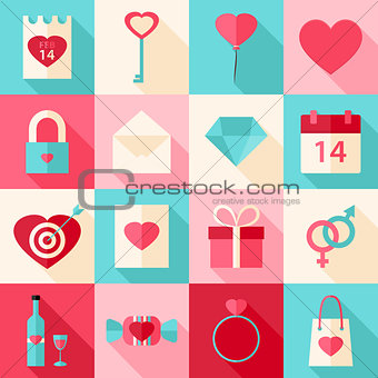 Valentine day flat style icons with long shadow