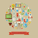 Vector Flat Style Science and Education Objects Concept