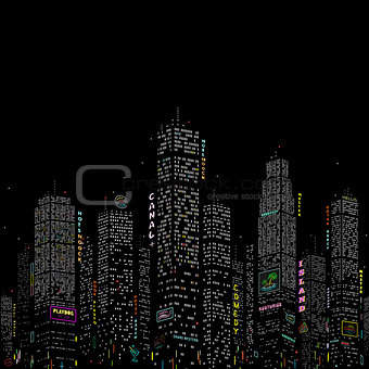 City Skyscraper Vector Pattern