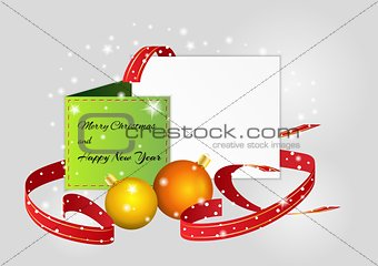 christmas card with balls and ribbons