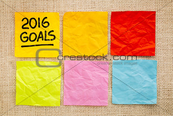 2016 New Year goals on sticky notes