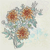Vintage background with flowers dahlia color