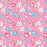 seamless pattern of flowers on a pink background for children