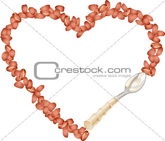 Frame of peanut grain forming into heart with spoon