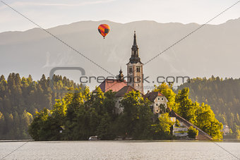 Catholic Church in Bled Lake, Slovenia with Hot Air Balloon Flyi