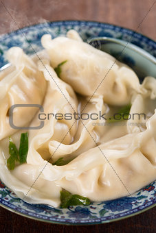 Close up dumplings soup