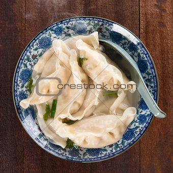 Top view dumplings soup