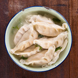 Top view Asian food dumplings soup