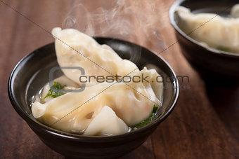 Asian cuisine dumplings soup