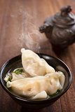 Popular Asian food dumplings soup