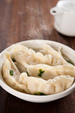 Delicious Asian food dumplings soup