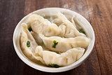 Delicious Asian dish dumplings soup