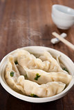 Delicious Asian meal dumplings soup