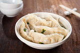 Delicious Asian gourmet dumplings soup