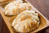 Close up pan fried dumplings