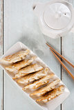 Top view Asian food pan fried dumplings
