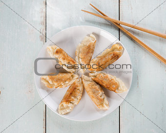 Top view Asian cuisine pan fried dumplings
