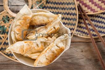 Top view Asian food fried dumplings