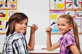 Kids in science class