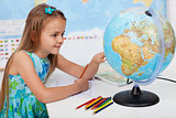 Young girl in geography class