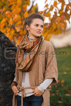 Portrait of thoughtful woman in beautiful evening autumn park
