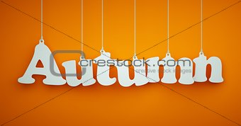 Autumn - White Letters Hanging on the Ropes.