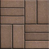Brown Pave Slabs Rectangles Arranged Perpendicular to Each other Two or Three Pieces.