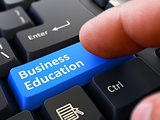 Business Education - Written on Blue Keyboard Key.