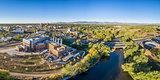 aerial panorama of Fort Collins downtown