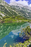 Reflection of Vihren peak in Okoto lake, Pirin Mountain
