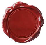 Red wax seal or signet isolated