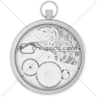 Blank template stopwatch with cogwheel mechanism