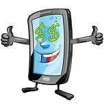 fun mobile cartoon with dollar symbol