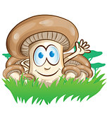 mushroom cartoon on  forest background