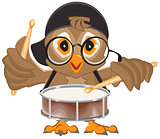 Owl drummer. Owl beats the drum